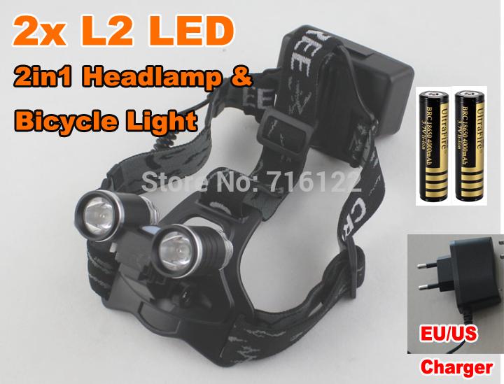 Налобный фонарь 2 1 & 2 * Cree xm/l2 4000LM + + 2 * 18650 RJ-2181H налобный фонарь fenix hp30r cree xm l2 xp g2 r5 черный