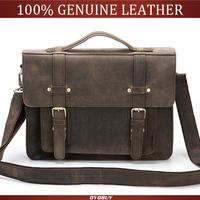 2014 New Men 100% Genuine Leather business Briefcases Handbag Cowhide Leather Vintage Style men's Messenger shoulder bag