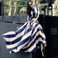 New 2014 autumn winter women vintage fashion long maxi dresses floor length brand blue print casual chiffon dresses plus size