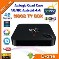 M82 Android 4.4 tv box  2G RAM 8G ROM Amlogic S802 Quad Core 2.0G (Cortex-A9) XBMC Dual WiFi mini pc MXIII free shipping
