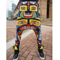 2014 New Totem Printed Harem Hip Hop Dance Pants Sweatpants Sports Cargo Trousers Drop Crotch Bandana Pants Men Calca moletom