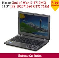 "New Hasee God of War Intel i7 4710MQ 4G DDR3 1TB HDD 13.3"" IPS 1920*1080 NVIDIA GTX 765M Backlit keyboard Game Laptop"