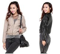 2014 new arrival sale freeshipping standard zipper pockets zippers solid jaqueta de couro feminina jaqueta couro leather jacket