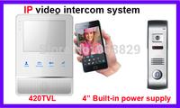 4 inch  IP  wireless  networ 4 wire valli Video Door Phone Intercom Systeml 3G  mobine phone contorl
