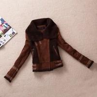 2014 freeshipping new arrival wool liner zipper slim patchwork turn-down collar faux fur coat women coat