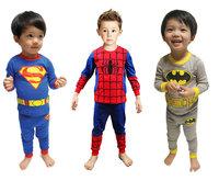 Kids Bebe Infantil Baby Boys Children Pajamas Sleepwear Home Wear Clothing Clothes Set Superman Batman Spiderman Costume Pyjama