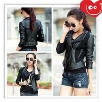 2014 rushed promotion freeshipping standard zipper pockets jaqueta de couro feminina leather coat jaqueta couro leather jacket