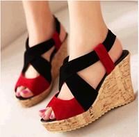 Beautiful comfortable open toe wedges sandals open toe high heel platform brief women's shoes sandals