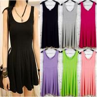 Free shipping women summer dress 2014 model sundress jumper skirt dropshipping neon color bottoming render skirt