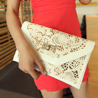 2014 Vintage envelope women's hollow out chain bag day pu clutch bag