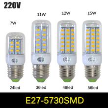 1Pcs SMD 5730 E27 LED lamp 7W 11W 12W 15W AC 220V Ultra Bright 5730SMD LED Corn Bulb light Chandelier 24LED,36LED,48LED,56LED(China (Mainland))