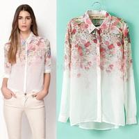 summer thin shirt woman blouse chiffon floral print women long sleeve blouse,blusa chifon blusas feminina,blusa manga longa