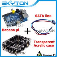 Original Banana Pi + Sata Line Cable ( 34.5cm 100% copper 100% copper wire) + Transparent Acrylic Case Box
