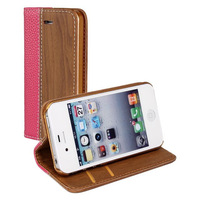 Fashion Premium Wooden Pattern Wallet Leather Cover Case For Apple iPhone 4 4S With Card Holder Drop