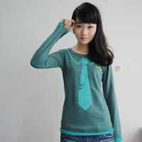 autumn men women clothing anime Cartoon VOD VOCALOID Hatsune Miku Cosplay costume cotton long sellve green Casual t-shirt tops