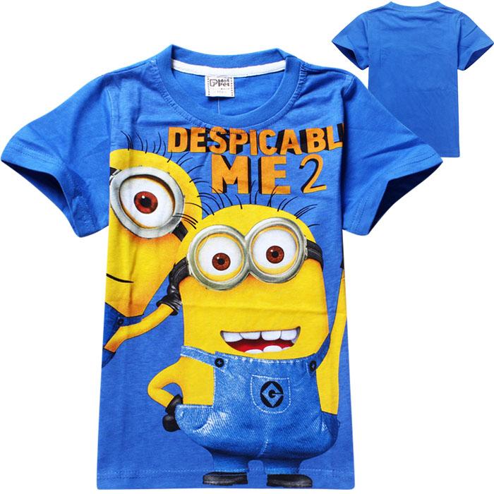 Nuovo 2014 t- shirt, anime Cattivissimo Me tirapiedi minion costume vestiti dei bambini abbigliamento ragazzi t shirts usura