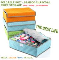 High-Quality 3pcs/Set Foldable Box /Bamboo Charcoal Ffibre Storage Box For Bra,Underwear,Necktie,Socks