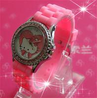 Hot sales Hello Kitty Brand Children Cartoon Watch Fashions Silicone Sports Watch, Rhinestone watches, Girl Dress Watch relogios