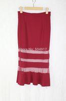 2014 new summer european style black red woman high waist sheer skirts Trumpet / Mermaid long chiffon skirt for women work wear