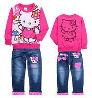 6sets/lot Children cartoon sportssuit girls Hello Kitty clothes sets long sleeve tops & pants 2pcs suit baby jeans wholesale