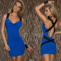 2014 New Fashion Bandage Club Dress Women Sexy Criss Crose Sequined Back Bodycon Mini Party Dress 5449