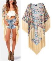 2015 Spring Summer Women's Vintage Ethnic Cotton Floral Print Loose Kimono Cardigan Tassels Shirts No Button Maxi Blouses Tops