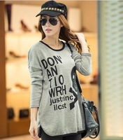 2014 new winter sweater Korean women fashion embroidered leather skull bat sleeve round neck sweater large yard
