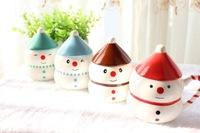 Christmas Series Snowman Cup Mug Ceramic Cups Coffee Lovers Cup with Lid