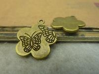 10pcs 20mm Antique Bronze The plum blossom shape butterfly Charm Pendant C4837
