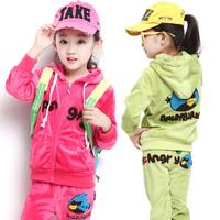 New 2014 children's clothing  girl child kids clothes autumn and winter velvet child warm Jackets+ pants 2pcs sets twinset