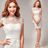 Korean lace high-necked vestidos de dama de honorwhite tight Skirt 2014 summer fashion plus size Bridesmaid dresses 8269