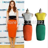 2014 New HOT Womens Celebrity Midi Bodycon Ladies Orange/Green Pencil Evening Sleeveless Slimming Panel Tea Dress