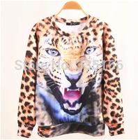 New Women Sweatshirt 3d Lion Print Leopard Fashion Personalized Sweatshirts Pullovers O-neck Casual Shirt Plus Size  #JM06891