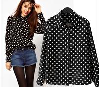 Drop shipping 2014 New summer Women clothing Casual Chiffon Blouse Women Long Sleeve Tops Shirts Black