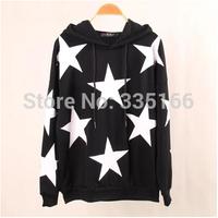 Women Hoody Sweatshirts Stars Pullover Hoodies Fashion Female Hooded Batwing Sleeve Sweatshirt Casual Outerwear   #JM06889