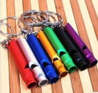 Free Shipping 46x9mm 50pcs/lot Aluminium Outdoor Emergency Hiking Camping Survival Whistle with Keychain S002