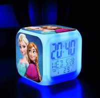 frozen New LED 7 Colors Change Digital Alarm Clock Frozen Anna and Elsa Thermometer Night Colorful Glowing Clock