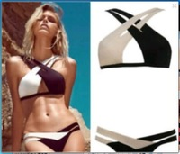 2014 explosion models spell color color mixed into the bikini straps gather women split swimsuit Free Shipping