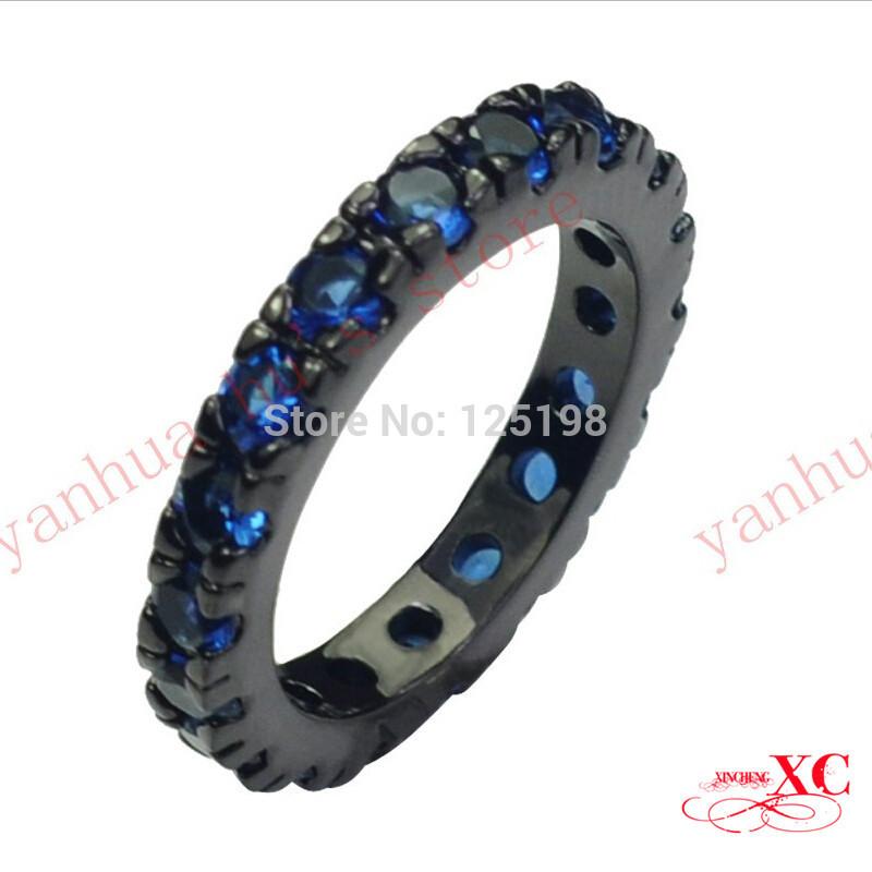 wholesale wedding finger rings hot sale fine jewelry womenmen fashion black sapphire aaa zircon anel black filled ring sz6 10 rb0086 - Tire Wedding Rings