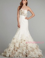 2014 Designers White Lace And See Through Beading A-line Wedding Dresses With Removable Train Bridal Dresses Tulle 778