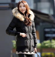 WDS08 2014 New Winter Coat Thicker Ovo Collar Long Coat Ladies Padded Cotton Jacket Size S-XXXL
