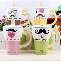 Creative personalized ceramic mug cup cute creative cartoon mustache loving cup 2014 AUTUNMN