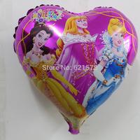 10pcs/lot 18 inch heart Three Princess helium balloon Peach yincui gorge foil balloon