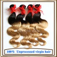 Grade 6A Ombre Hair Extensions Brazilian Virgin Hair Body Wave Cheap Brazilian Body Wave 3/4Bundles Two Tone Human Hair Weaves