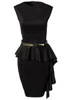 New arrival ! Black Classic Sleeveless women Peplum dress Elegant Evening One-Side Draped Stylish  Summer dresses  B4418