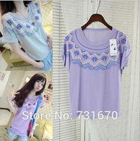 New in 2014 Summer Folk Style Women's Clothing Geometric Short Sleeved T-shirts TX001
