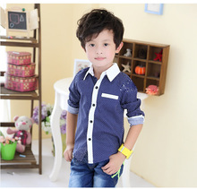 2015 NEW Polka Dot Boys Long Sleeve Shirts Spring Fall Turn Down Collar Kids Shirt 2
