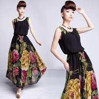 Hot Selling 2014 Summer Women High Fashion Slim Flower Printed Chiffon Long Maxi Vest Casual  Evening Dresses S-XL