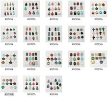 WHOLESALE  12pcs Mix Multi-style Natural Stone Charms Finding Pendants Pick Size (W02521-2538)(China (Mainland))