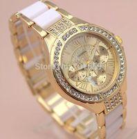 Luxury Brand Watch For Ladies Crystal Rhinestone Fashion Women Wristwatch imitation ceramic metal alloy Band Roman Numerals Dial